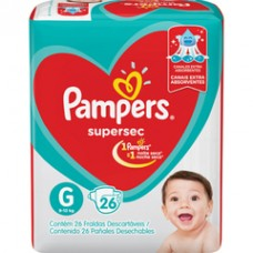 Fralda Pampers Supersec G 26un